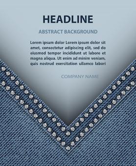 Ângulo de jeans com faixa de papel