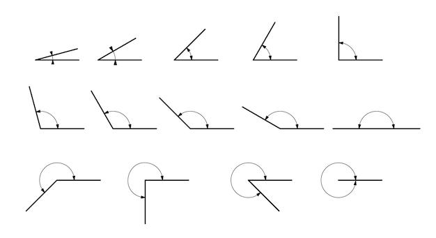 Ângulo diferentes graus. conjunto de ícones vetoriais consistindo em ângulos de diferentes graus.