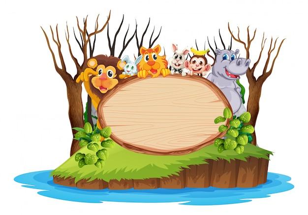 Anima animada na placa de madeira