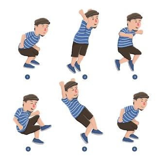 Animação com sequência de quadros do homem pulando