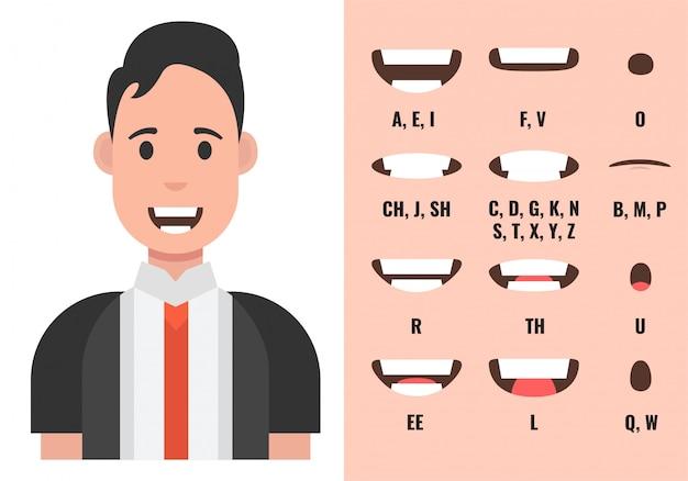 Animação de boca masculina