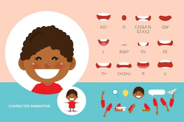 Animação de boca para crianças. garoto de animação de personagem de coleção de sincronização labial.