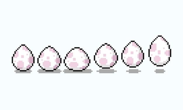 Animação de ciclo de ovo pulando de desenho animado em pixel art