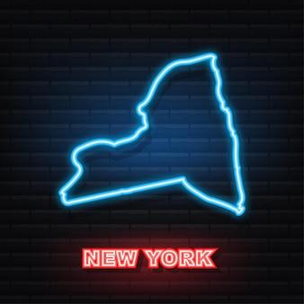 Animação de contorno do mapa do estado de nova york. ícone de néon. ilustração vetorial.