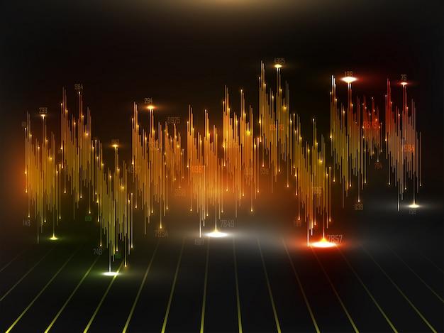 Animação de forma de onda de áudio ou som com efeito de iluminação para o fundo do conceito de big data