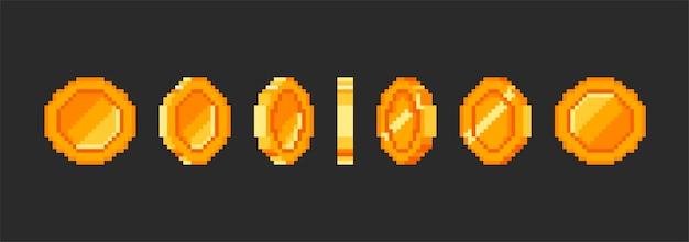 Animação de moeda de ouro de pixel, dinheiro