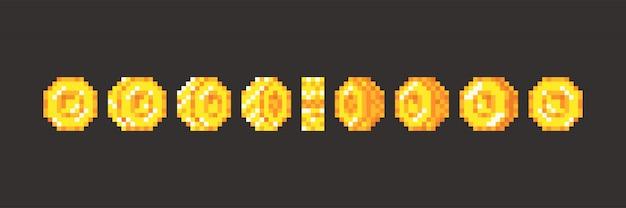 Animação de moedas de jogo de pixel