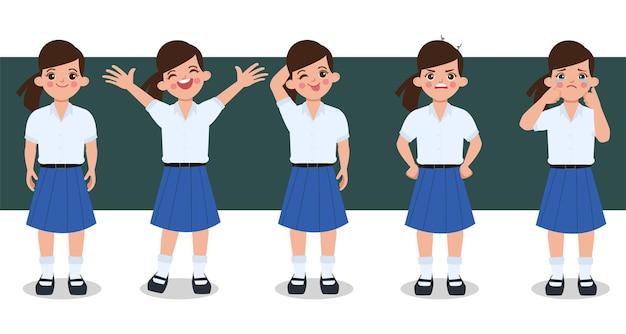 Animação de personagem de estudante bangkok tailândia.