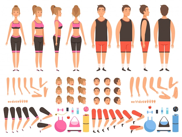 Animação de pessoas do esporte. kit de criação de partes do corpo de mascotes de treino masculino e feminino de fitness