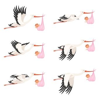 Animação de quadro de cegonha voadora. bebê recém-nascido entrega pássaro carregar personagens de desenhos animados isolados