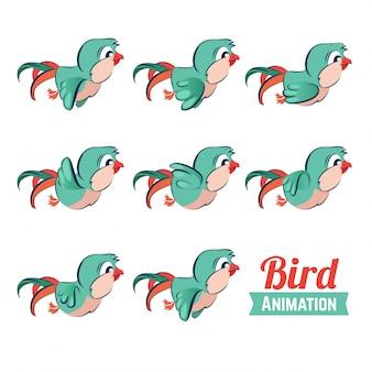 Animação de quadros-chave do pássaro voando.