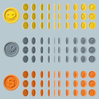 Animação de rotação de moeda dos desenhos animados