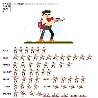 Animação de um cara com uma espingarda para criar um videogame