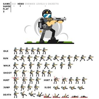 Animação de um cara das forças especiais com uma espingarda para criar um videogame