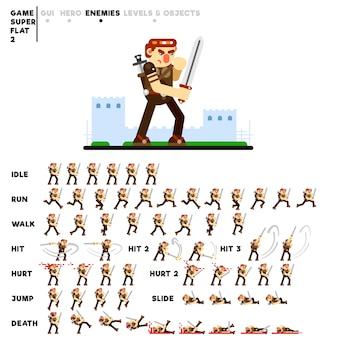 Animação de um guerreiro com uma espada para criar um videogame
