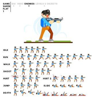 Animação de um homem com uma espingarda para criar um videojogo