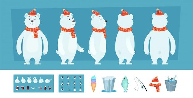 Animação de urso polar. partes do corpo de animais selvagens brancos e kit de criação de personagens de rostos diferentes