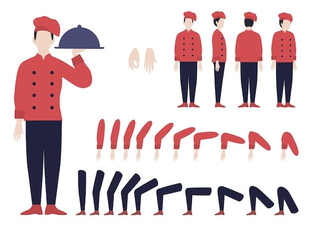 Animação do chef italiano com partes do corpo e do homem em posições diferentes e vários gestos isolados