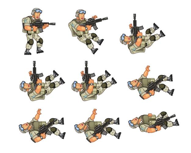 Animação do personagem do jogo do soldado