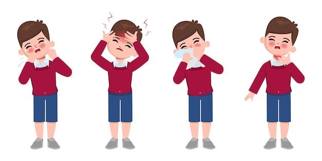Animação fofa crianças doentes com personagem sintoma de desconforto