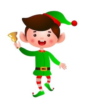 Animado elfo pulando e tocando a ilustração de sino