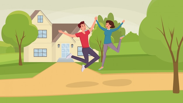 Animado marido e mulher, homem e mulher, personagens de desenhos animados de amigos se divertindo