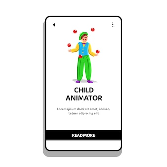 Animador infantil, palhaço, malabarismo com bolas vermelhas