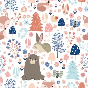 Animais adoráveis e floresta no padrão sem emenda