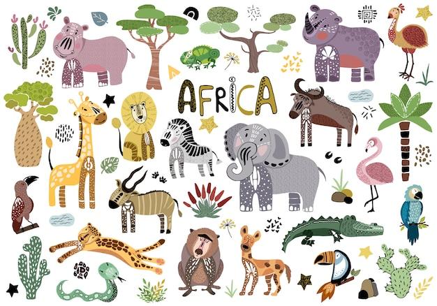 Animais africanos de desenhos animados