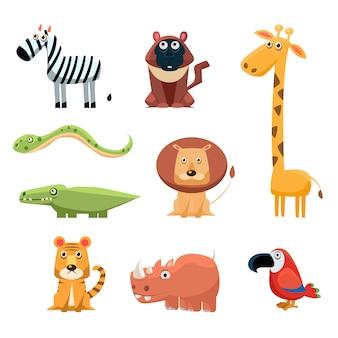 Animais africanos divertido dos desenhos animados