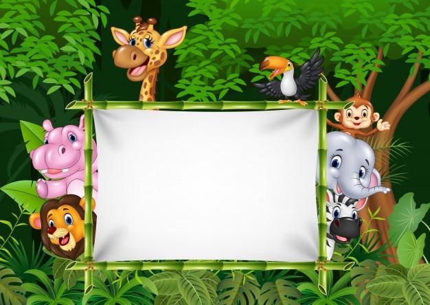 Animais africanos dos desenhos animados com sinal em branco