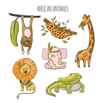 Animais africanos zoológico de circo bonito dos desenhos animados mão desenhada