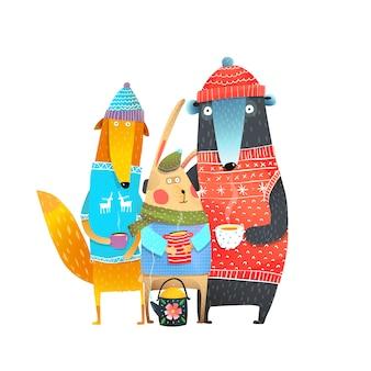 Animais amigos em roupas de inverno, bebendo chá