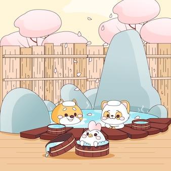 Animais amigos kawaii tomando banho no onsen