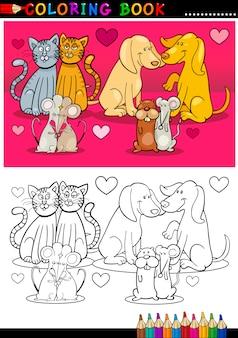 Animais apaixonados desenhos animados para colorir livro