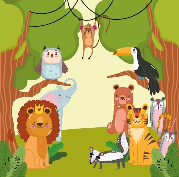Animais, árvores, floresta, desenho animado
