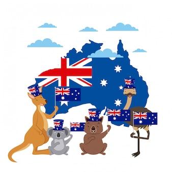 Animais austrália dia celebração