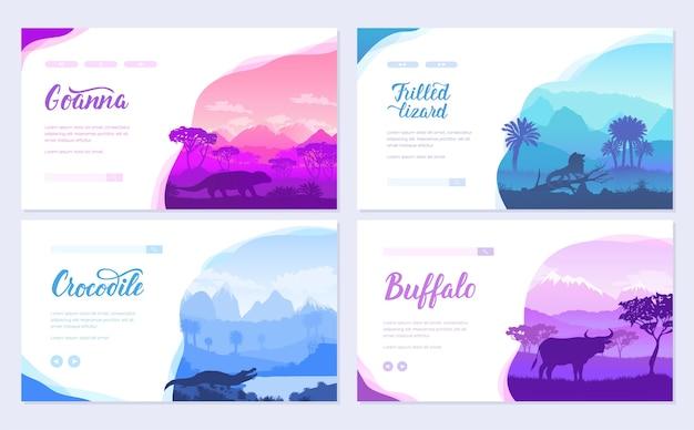 Animais australianos naturais na brochura. modelo de flyear, banner da web, cabeçalho da interface do usuário, insira o site.
