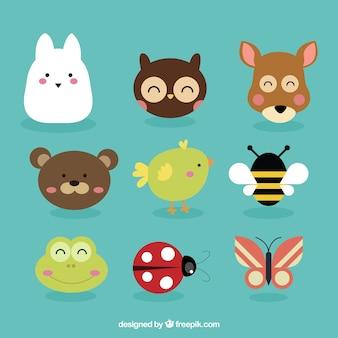 Animais avatares e insetos adoráveis