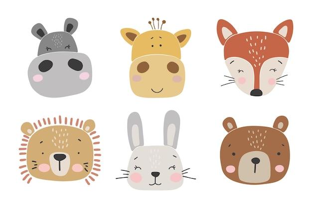 Animais bebê abstratos conjunto coleção de animais bebê boho