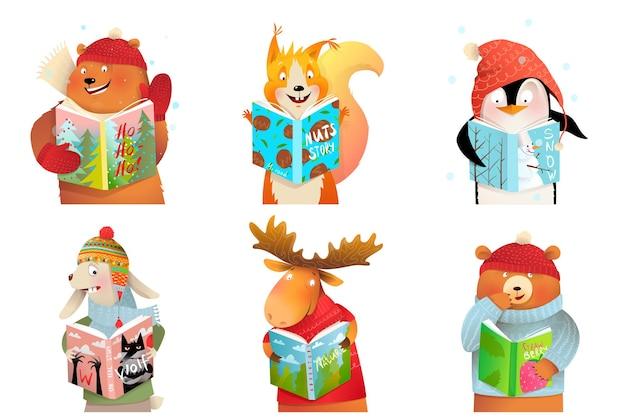 Animais bebês para crianças lendo livros e estudando