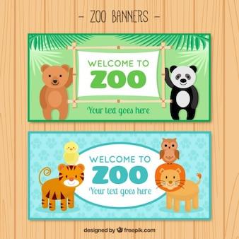 Animais bem-vindo agradável para banners jardim zoológico