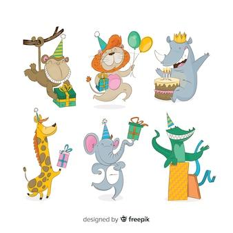 Animais bonito dos desenhos animados com presentes