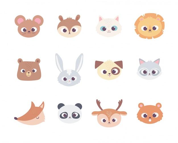 Animais bonito dos desenhos animados enfrenta ícones de coleção de animais domésticos selvagens
