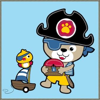 Animais bonitos com fantasia de pirata, vetor de desenhos animados