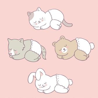 Animais bonitos do bebê dos desenhos animados que dormem o vetor.