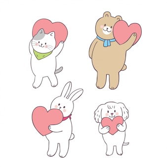 Animais bonitos do dia de valentim dos desenhos animados e vetor do amor.