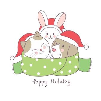 Animais bonitos do natal dos desenhos animados e vetor do lenço.