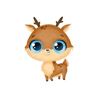 Animais bonitos dos desenhos animados. cervos isolados