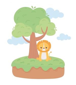 Animais bonitos dos desenhos animados da grama da árvore do leão em uma ilustração do vetor da paisagem natural